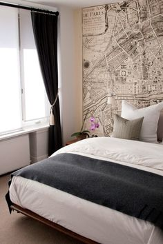 Paris map on bedroom wall. love this for Tori's room!!