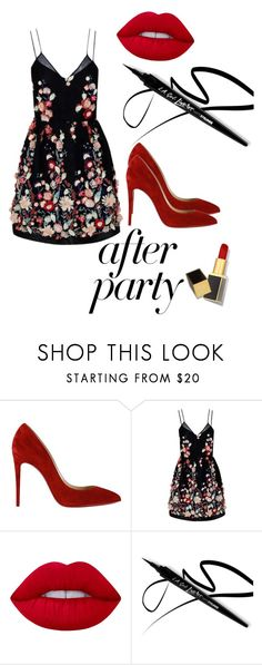 """Fifty shades of the after party"" by marahxstyle ❤ liked on Polyvore featuring Christian Louboutin, The 2nd Skin Co., Lime Crime and Tom Ford"
