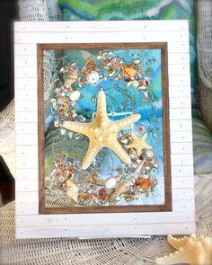 Starfish Beach Glass Art for Coastal Decor, Sea Glass Art with Starfish for Beach House, Beach Art on Glass, Beach Wedding Gift by SeaSideCreations1 on Etsy