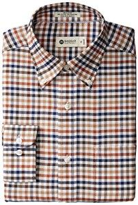 Haggar Men's Multi Gingham Fancy Pinpoint Oxford Long Sleeve Regular Fit Shirt