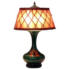 Awaji Pottery Lamp with Woven Bamboo Shade | From a unique collection of antique and modern table lamps at https://www.1stdibs.com/furniture/lighting/table-lamps/
