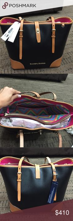 Dooney & Burke Dooney & Burke purse NWT. Gorgeous brand new purse with tons of room, beautiful pink/colorful inside with lots of compartments. Genuine leather trim and comes with dust bag. Dooney & Bourke Bags Shoulder Bags