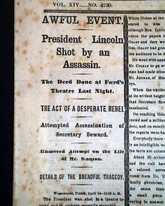 """""""President Lincoln Shot by an Assassin"""" - story to follow in historical newspaper"""
