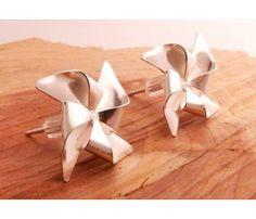 Silver Pinwheel Earrings by Blue Dot Jewelry