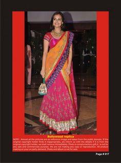 Bollywood ReplicaDiya-Mirza-Pink and Orange Silk Lehenga saree with Embroidery and Lace Work