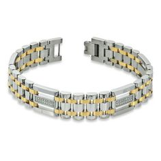 Zales Mens 12mm Cross Bracelet in Two-Tone Stainless Steel - 8.75 nvs6P5