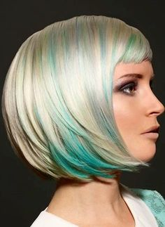 Hate the length - but love the blonde & blue highlights.