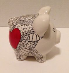 Zentangle Ceramic Piggy Bank - Black and White with Red Heart - Art by Sarah Price