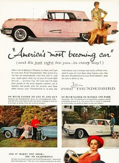 '59 T-Bird advertised as America's Most Becoming Car  and there she is!  My Appleblossom Pink 1959 Thunderbird!  yesss!