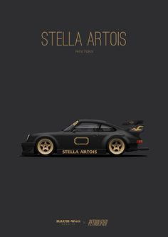 12 - RWB Stella Artois I have this poster actually hanging in my room😏 Stella Artois, Porsche 964, Porsche Cars, Sport Cars, Race Cars, Automobile, Car Illustration, Car Posters, Automotive Art