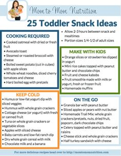 A printable list of 25 healthy toddler snack ideas perfect for the big and little kids in your family, including Mom and Dad too! @MomNutrition