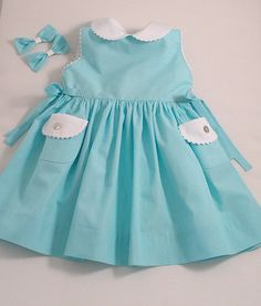Turquoise Stripe Sleeveless Baby Dress