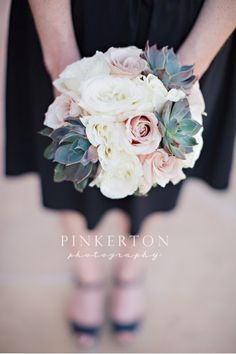 Stylish succulents add an edge to delicate blush and cream roses in these @Four Seasons Resort Scottsdale at Troon North bridesmaid bouquets.