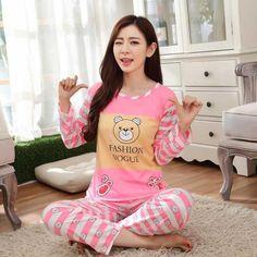 Pajamas Set Women Autumn Long Sleeve Cartoon Cute Sleepwear Pijamas Mujer  Nightgown Women Student Pajamas Set casual homewear 4e33d6ff9
