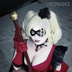 Harley Quinn Leather Cosplay Mask Ms. Marvel Carol by LMEmasks