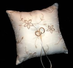 Use coupon code PINITFREESHIP for FREE shipping! Ivory Wedding Ring Bearer Pillow Gold Floral by Jessicasdaydream