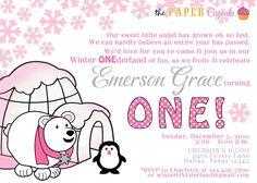 Printable Invitation Design - Pink and Gray Winter ONEderland / Winter Wonderland Theme - Girl Version - DIY Printables by The Paper Cupcake. $15.00, via Etsy.
