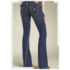 True Religion Joey Jeans Some damage on back hem, but no worn holes. Front hems in perfect condition. Size 28. True Religion Jeans Flare & Wide Leg