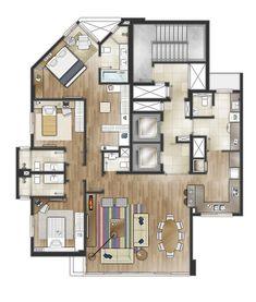 13_TERRAMAR_ResidencialFHS_PB TIPO   3Dimagem Studio   Flickr Modern House Floor Plans, House Plans And More, Best House Plans, Home Building Design, Home Design Plans, House Design, Studio Apartment Layout, Studio Apartment Decorating, Apartment Floor Plans