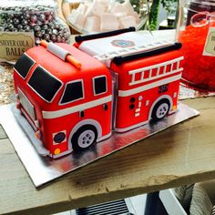 Grooms fire truck cake by Whippt desserts Craft Wedding, Fire Trucks, Grooms, Macarons, Catering, Sculpting, Wedding Cakes, Appetizers, Desserts
