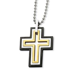 Stainless Steel Black & Gold IP Plated Moveable Cross 22in Necklace SRN113