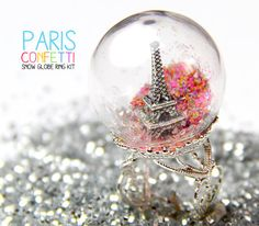 Paris Confetti Snow Globe Ring DIY Kit (Waterless) / Bubble Glass Dome / Snowglobe Eiffel Tower Glitter Silver Filigree Ring Set via Etsy