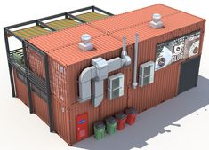 Container Coffee Shop, Container Van, Coffee Shop Design, Cafe Design, Big Architects, Restaurant Plan, Container Conversions, Food Truck Design, Container Buildings