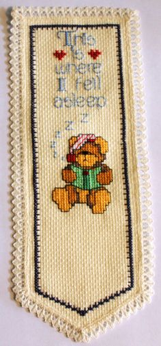 Name  Cross stitch bookmark.  Name can be added to the bottom if desired. on Etsy, $12.50