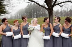 I love the idea of gray bridesmaids dresses. I would add a pop of red.