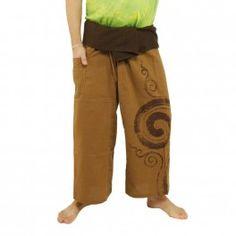 Pantalones pescador tailandés - con la impresión de caracol - de color caqui oscuro Algodón