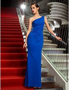 TS Couture® Formal Evening / Military Ball Dress - Royal Blue Plus Sizes / Petite Sheath/Column One Shoulder Ankle-length Jersey 2016 - $99.99
