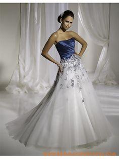 Modern Blue And White Strapless Beaded Satin Organza Beach Wedding Dress 2011 Discounted