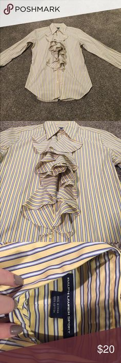 RALPH LAUREN POLO! Ruffled, Button Down Blouse! Light yellow with navy and white stripes. Polo by Ralph Lauren Tops Blouses