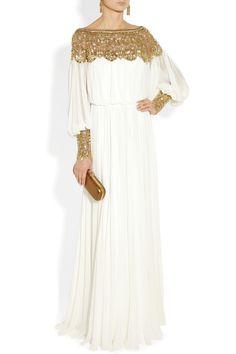 Marchesa Embellished silk-chiffon gown Oscar de la Renta earrings, Jimmy Choo shoes, Alexander McQueen bag.