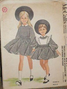 Vintage 1960s McCalls 6505 Girls Helen Lee Dress w/ Petticoat Pattern sz 2 Unct