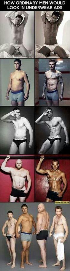 Real men posing as underwear models