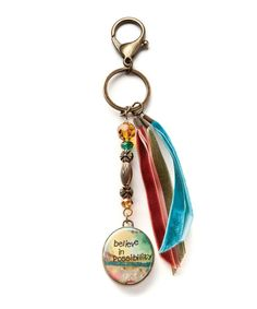 Only $7.99!  This Goldtone 'Believe' Key Chain by Kelly Rae Roberts is perfect! #zulilyfinds