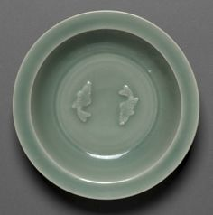 Dish with Two Fish in Relief, Longquan Ware, mid 13th Century, China, Zhejiang province, Southern Song dynasty