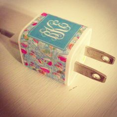 Monogrammed iPhone Charger Sticker -- You Gotta Regatta Print on Etsy, $8.00
