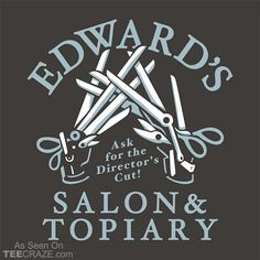 Edward's Salon And Topiary T-Shirt Designed by Snorg. #TeeCraze #EdwardScissorhands #TimBurton #JohnnyDepp #tshirt