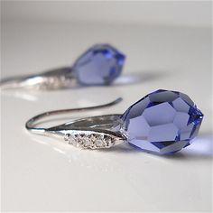 Periwinkle Blue Czech Crystal Earrings with CZ