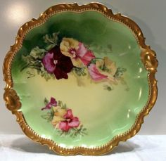 Victorian Chopin Limoges France Plate Circa 1900 Brilliant Pansies Artist Signed