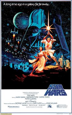 "The original... - Greg & Tim Hildebrandt got the job for this, the first ""Star Wars"" poster, via their work on a Lord of the Rings calendar in 1976. It was painted during a 36-hour nonstop marathon, and R2-D2 and C-3PO were a last-minute addition at the request of George Lucas."