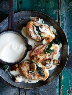 roast chicken with marsala, sage, mushroom and creamy semolina from donna hay magazine.