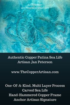 "Each piece of copper patina & bronze verdi gris wall art is unique as the natural process cannot be duplicated. The sea life represented in each piece of copper artwork is carved to add texture & a 3D look & feel, as if swimming through the ocean. The texture is luxurious and rich.  The frame is hand hammered copper & nails. My original signature copper anchor medallion let's you know it is one-of-a-kind!  Our customers have called our copper art pieces ""exquisite"" and ""stunning""…"