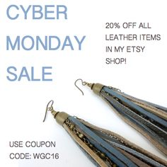 CYBER MONDAY SALE!! TODAY ONLY!!  RECEIVE 20% OFF ALL LEATHER ITEMS IN MY ETSY SHOP. ENTER COUPON CODE: WGC16 AT CHECKOUT.   WILDGINGERCREATIONS.ETSY.COM