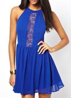 Halter Lace Insert Chiffon Flare Dress 13.00