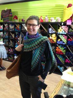 Noro silk garden shawl, knitted by Sarah