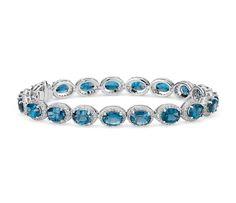 London Blue Topaz and White Topaz Halo Bracelet in Sterling Silver (Blue Nile) Blue Nile Jewelry, Topaz Jewelry, Gemstone Bracelets, Sterling Silver Bracelets, Jewelry Bracelets, Bangles, Diamond Bracelets, White Topaz, White Gold
