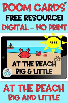 This resource includes 10 pages. Each page asks the student to select either a BIG or LITTLE beach item. There is a visual sentence strip along the bottom to prompt the student to describe what he/she sees (e.g., big shell). HINT - The sentence strip will disappear after you hit submit so you may want to encourage the student to use the sentence strip to describe the beach object prior to hitting submit. Preschool Speech Therapy, Preschool Activities, Big Shell, Sentence Strips, Early Literacy, Big Little, Communication Skills, Learning Resources, Speech And Language